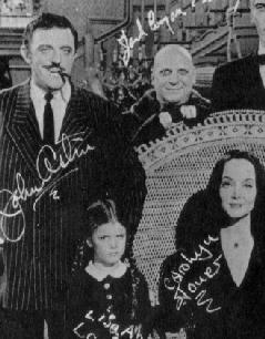 The Addams Family: Gomez, Morticia, Uncle Fester, Cousin Itt, and Wednesday